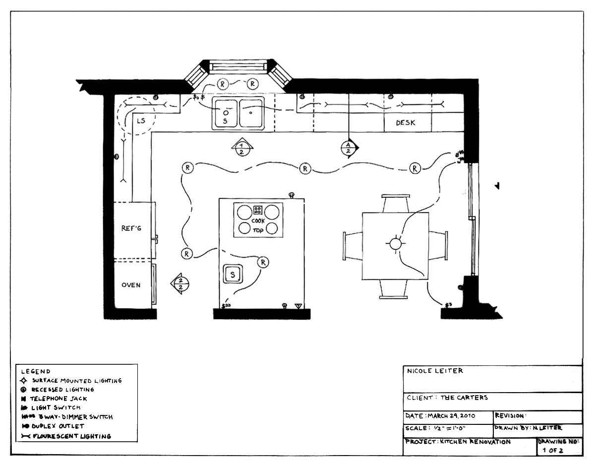 lighting and electrical plans for a kitchen